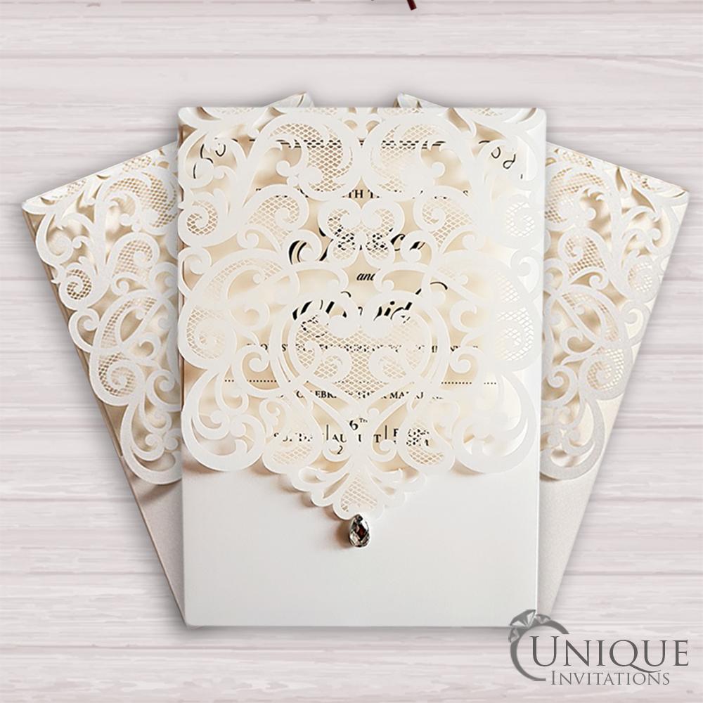 Elegant Laser Cut Design Crystal Diamante Muslim Wedding Card Diamond Wedding Cards