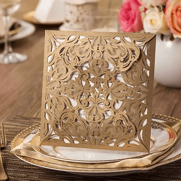 Brown Elegant Laser Cut Design Wedding Card