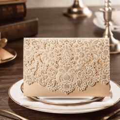 Beige Elegant Laser Cut Design Wedding Card