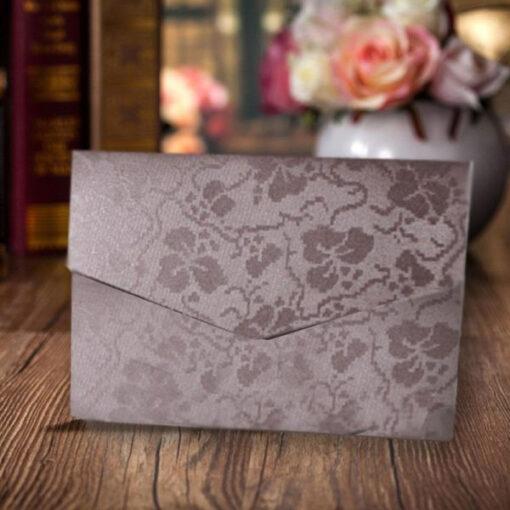 Chocolate Brown Elegant Floral Design Wedding Card