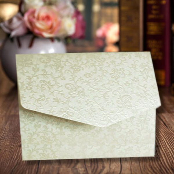 Beige Elegant Design Wedding Card