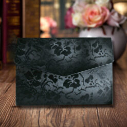 Black Elegant Floral Design Wedding Card