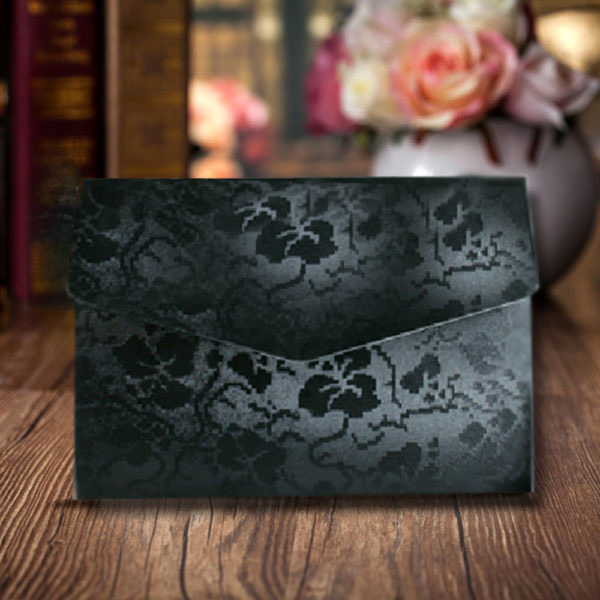 Black Elegant Floral Design Wedding Card
