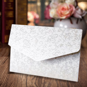 White Elegant Design Wedding Card