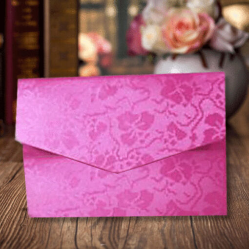 Pink Elegant Floral Design Wedding Card
