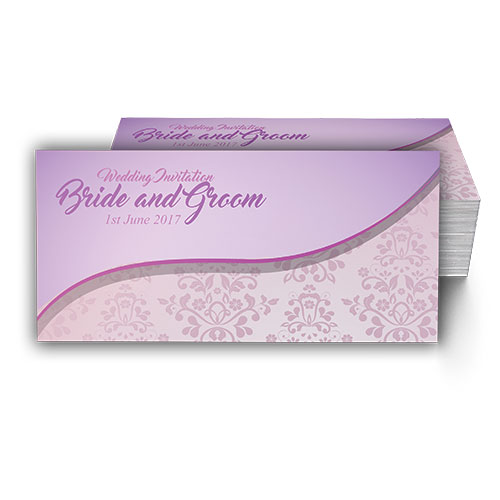 Lilac with Pink Damask Pattern Wedding Card
