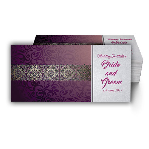 Purple with Floral Pattern Wedding Card