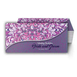Purple with Emerald Pattern Wedding Card