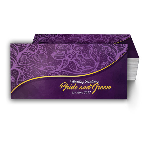 Purple with Faded Floral Pattern Wedding Card