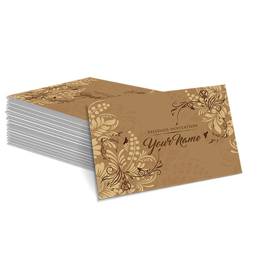 Brown with Cream Floral Design Mehndi Card