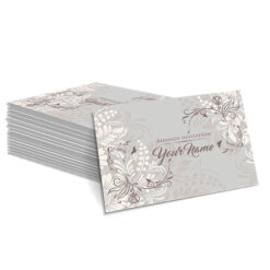 Grey with White Floral Design Mehndi Card