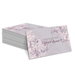Grey with Lilac Floral Design Mehndi Card