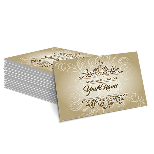 Yellow with Faded White Floral Design Mehndi Card