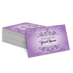Purple with Faded White Floral Design Mehndi Card