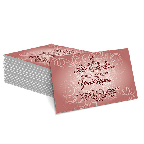 Maroon with White Floral Design Mehndi Card