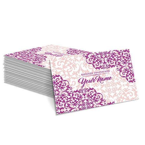 Pink with Detailed Pink Design Mehndi Card