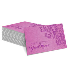 Pink with Faded White Floral Design Mehndi Card