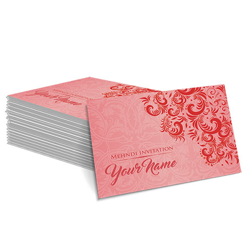 Red with Faded White Floral Design Mehndi Card