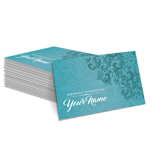Teal with Faded White Floral Design Mehndi Card
