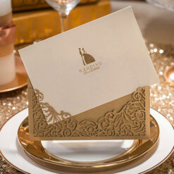Brown Elegant Luxury Laser Cut Design Wedding Card