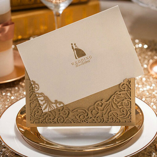 Brown Elegant Luxury Laser Cut Design Wedding Card
