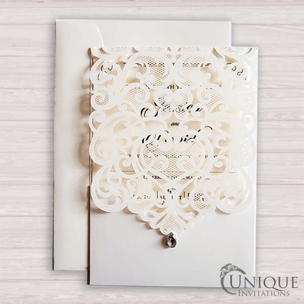 Elegant Laser Cut Design Crystal Diamante Wedding Card - Diamond ...