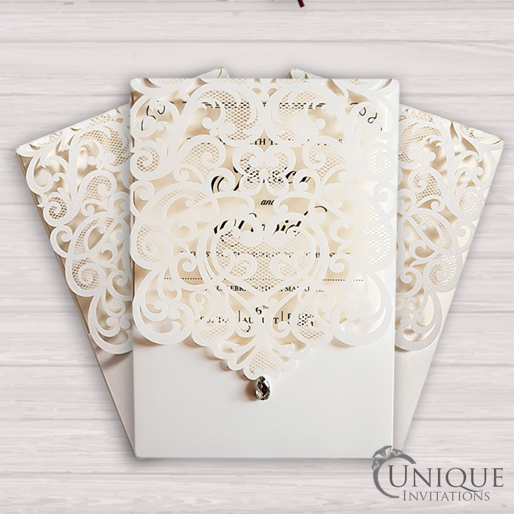 Elegant Laser Cut Design Crystal Diamante Muslim Wedding Card ...