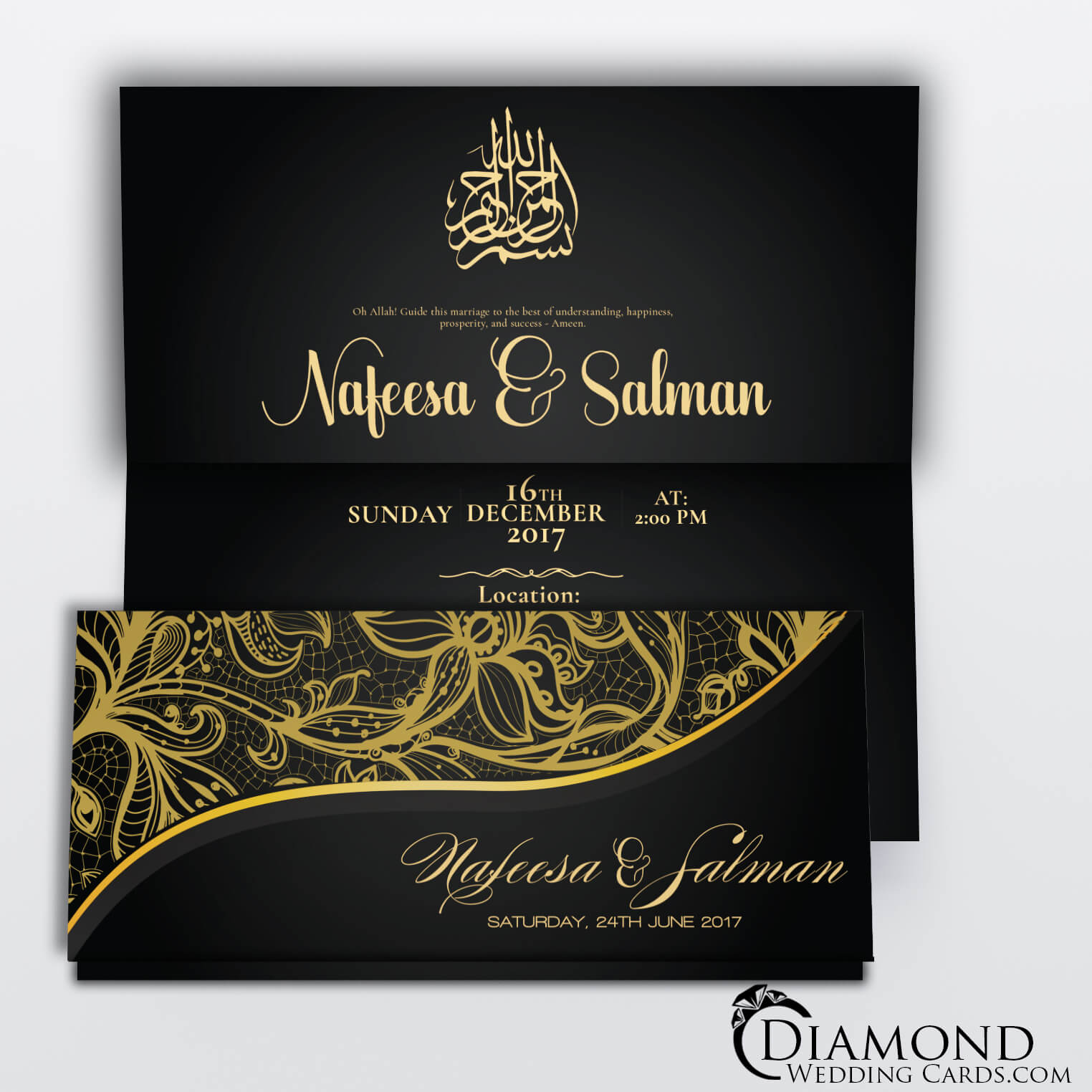 Black and Beige Elegant Muslim Wedding Card - Diamond Wedding Cards