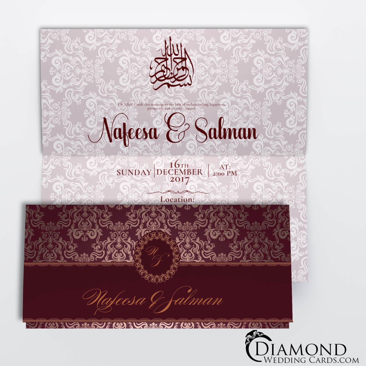 red and burgundy royal muslim wedding card  diamond