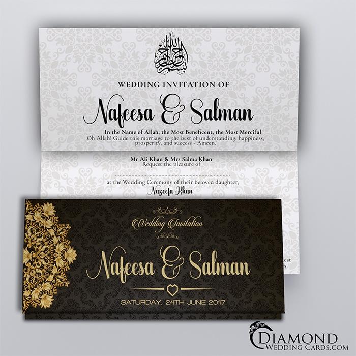 Black Royal Muslim Wedding Card Light Version Diamond Wedding Cards