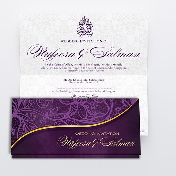Purple and Beige Royal Muslim Wedding Card Diamond Wedding Cards