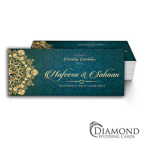 Green Teal And Beige Royal Muslim Wedding Card Dark Version Non Fold Diamond Wedding Cards